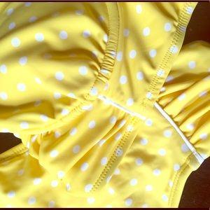 Yellow with white polka dot bikini